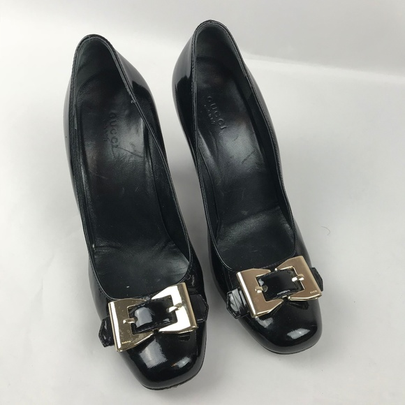 32304e1fa0 Gucci Shoes - Gucci Patent Leather Round Toe Heels Buckle 8